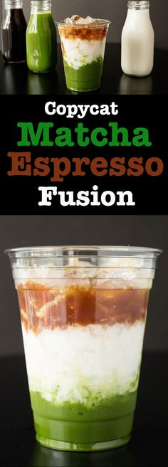 How to make a Copycat Starbucks Matcha Espresso Fusion layered drink. Only served at Starbucks in Asia. Tea Recipes, Coffee Recipes, Smoothie Recipes, Cooking Recipes, Espresso Recipes, Homemade Smoothies, Dairy Recipes, Sausage Recipes, Mexican Recipes