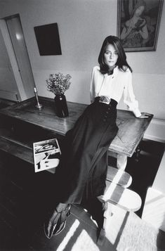 Charlotte Rampling in Yves Saint Laurent, Paris, Vogue France, 1970 photographed by Jeanloup Sieff