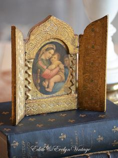 Vintage Italian Florentine Religious Triptych by edithandevelyn