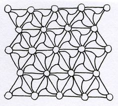 """Tangle Pattern Variation by Sandy Hunter, CZT. """"With wavy lines"""". Japanese Quilts, Japanese Textiles, Doodle Patterns, Zentangle Patterns, Sashiko Embroidery, Embroidery Patterns, Tesselations, Pretty Drawings, Doodles Zentangles"""