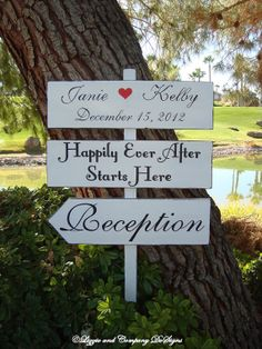 DiReCTioNaL WeDDiNg SiGnS  HaPPiLy EveR AFTeR by lizzieandcompany, $109.95