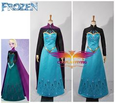 Disney Film Frozen Snow Queen Elsa Coronation Outfit Dress Movie Cosplay Costume