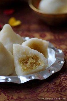 Rava Modak Recipe - Semolina Dumplings with sweet coconut filling - Step by step recipe for Ganesh Chaturthi - blendwithspices.com