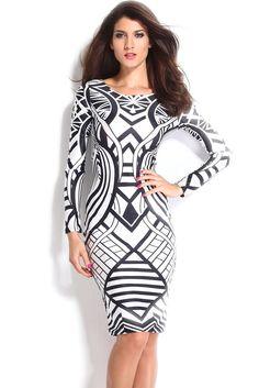 Koktejlové šaty s dlouhými rukávy a lesklou látkou černobílé 63740ea8916