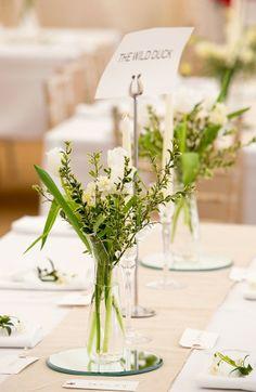 April Wedding Table Decor, Natural Wedding Plant Decor On The Table, Sliver  Card Holder