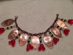 Disney inspired pressed penny bracelet #Disney #Bracelet This could be done w any collectible pressed penny collection!