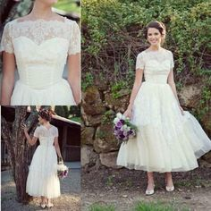 Free shipping, $113.93/Piece:buy wholesale Cheap Spring Short Beach Lace Wedding Dresses Plus Size With Short Sleeves A Line Modest Ankle Length Sexy Formal Bridal Ball Gowns2015 Spring Summer,Reference Images,Lace on hjklp88's Store from DHgate.com, get worldwide delivery and buyer protection service.