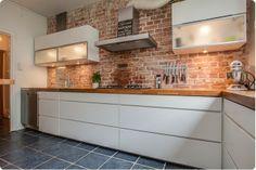 Kuchnia w cegle.pl brick wall in the kitchen Brick Interior, Interior Design Living Room, Kitchen Room Design, Kitchen Decor, Brick Slips Kitchen, Bathroom Styling, House Design, Brick Walls, Ikea