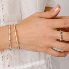 371710fee7b732 delicate diamond bracelets and rings #danarebecca Diamond Necklace Simple,  Diamond Bracelets, Bangle Bracelets