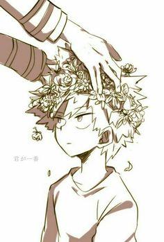 "Bakugou ""Kacchan"" Katsuki, flower crown, cute, young, childhood, hands, text; My Hero Academia"