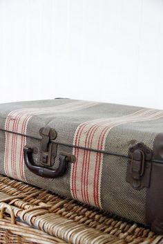 why not add some ribbon to an old suitcase?