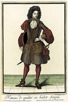 """""""Homme de qualité en habit d'espée"""", Nicolas Arnoult, 1687; LACMA M.2002.57.106"""