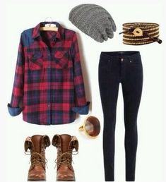 Casual Plaid Outfit, plaid shirt, tan scalf, Skinnies and Brown Knee-length Boots