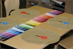 Intro to scissors-use cut up paint chips for art mosaics