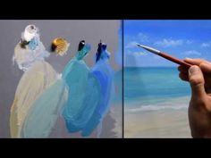 Mix colors to get turquoise. Paint a simple Caribbean seascape. Simple Acrylic Paintings, Acrylic Painting Tutorials, Painting Videos, Easy Paintings, Painting Techniques, Turquoise Painting, Paint And Sip, Sea Art, Pastel Art