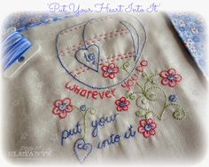 """""""Put Your Heart Into It"""" inside Month 2 of the Jenny of Elefantz Stitchery Club. It's so easy to join!"""