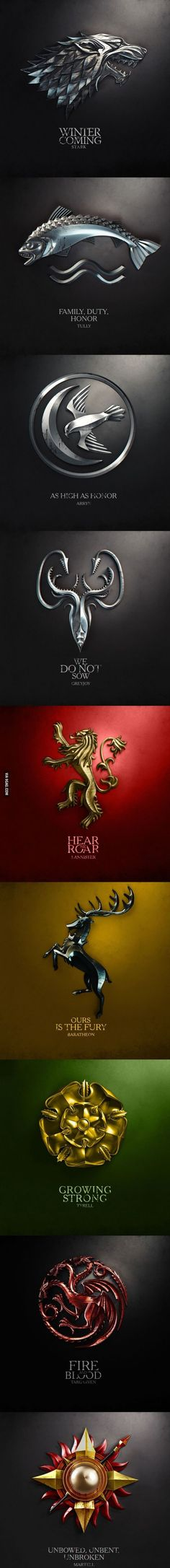 Game of Thrones House sigils and mottos: