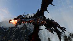 Deathwing Inspired Alduin (Reloaded) at Skyrim Nexus - mods and community Skyrim Nexus Mods, Skyrim Mods, Skyrim Armor, Skyrim Wallpaper, Character Concept, Character Design, Tolkien Hobbit, Fantasy Drawings, Dragon Drawings
