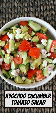 Avocado Cucumber Tomato Salad recipe from RecipeGirl.com #avocado #cucumber #tomato #salad #recipe #RecipeGirl High Protein Vegetarian Recipes, Healthy Recipes On A Budget, Healthy Dinner Recipes, Beef Recipes, Chicken Recipes, Cooking Recipes, Healthy Food, Christmas Recipes Dinner Main Courses, Easy Thanksgiving Recipes