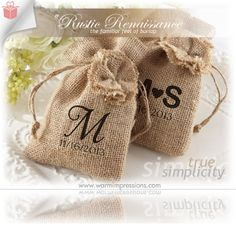 """Rustic Renaissance"""" Burlap Favor Bag with Drawstring Tie - Available Personalized (Set of 12) - WarmImpressions.com - only $0.86 - High Qual..."""