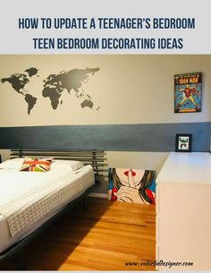 Do you want to update your teenagers bedroom? Need some teen bedrooms decorating ideas? Watch the transformation what I did to my sons room. Gray Bedroom Walls, Condo Bedroom, Bedroom Colors, Bedroom Decor, Bedroom Ideas, Low Platform Bed, Perry Homes, Dark Blue Walls, Minimal Bedroom
