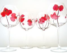 poppy wine glasses - would love to print illustrations on glasses one day!