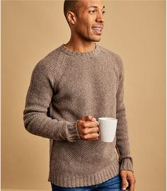 Vole Marl | Mens Lambswool Moss Stitch Jumper | WoolOvers UK