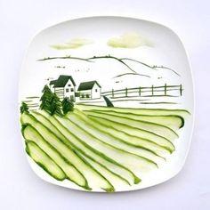 Очень интересное оформление) Напоминает наши фермы) #сферм#еда#креатив#огурцы#приятный завтрак#