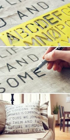Such a easy DIY to get that expensive store bought look of stenciled pillows. You'll need your pillow of course, but don't forget the letter stencils in your desire font (check these out: ow.ly/aeOiN ) and some fabric markers (like these: ) Diy Projects To Try, Crafts To Do, Home Crafts, Sewing Projects, Craft Projects, Project Ideas, Craft Ideas, Diy Projects Awesome, Gift Crafts