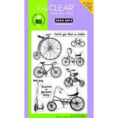 Bicycle stamp set, so cute! Hero Arts  Poly Clear  Clear Acrylic by DivineDesignsbyBonni, $8.95