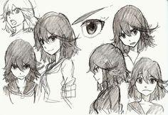 concept art Character Design official studio trigger Sushio kill la kill Ryuko Matoi Satsuki Kiryuin the art of klk Kill La Kill, Manga Drawing, Manga Art, Manga Anime, Anime Art, Reference Manga, Drawing Reference, Anime Sketch, Poses