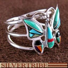 Multicolor Inlay And Genuine Sterling Silver Butterfly Ring DS55985