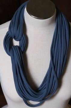 Items similar to Extra Long Denim Blue T Shirt Jersey Infinity Scarf / Necklace on Etsy Scarf Necklace, Fabric Necklace, Fabric Jewelry, Scarf Shirt, T Shirt Yarn, T Shirt Diy, Shirt Scarves, Tee Shirt Crafts, Recycled T Shirts
