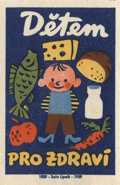 matchbox label another great Czechoslovakian matchbox label. a well-balanced meal!another great Czechoslovakian matchbox label. a well-balanced meal! Vintage Packaging, Vintage Labels, Vintage Ads, Vintage Posters, Illustrations Vintage, Retro Illustration, Graphic Design Illustration, Abc Poster, Luba Lukova
