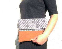 Foldover clutch bag / Cotton handbag / Faux suede leather handbag / Brown fold over purse / Pochette