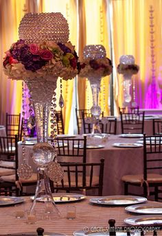 Suhaag Garden, Florida wedding design and decor vendor, crystal centerpiece Wedding Themes, Wedding Designs, Wedding Events, Wedding Reception, Wedding Ideas, Reception Table, Wedding Arrangements, Wedding Centerpieces, Floral Arrangements