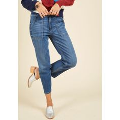 Vintage Inspired Cropped My Wander and Only Jeans ($70) ❤ liked on Polyvore featuring jeans, apparel, blue, bottoms, denim pant, patch pocket jeans, straight leg jeans, rock jeans, cropped jeans and faded vintage-style jeans