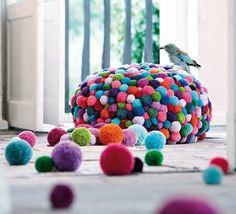 make yarn pompom balls and hot glue