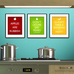 Doctor Who Inspired Fruit Posters - Set of three  20cm x 25cm each - AUSTRALIA & NEW ZEALAND GET IN MY KITCHEN!