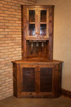 Mini Corner Bar Handcrafted From Reclaimed Barnwood By Mortise Tenon Woodworks In Bozeman Montana