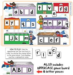 file folder game, letter games, alphabetical order, superhero