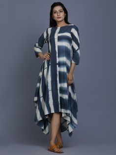 Grey Off White Cotton Shibori Dyed Asymmetric Dress