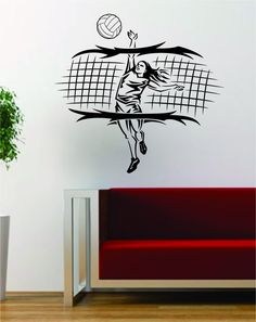 Volleyball Player and Net Sports Design Decal Sticker Wall Vinyl Art Decor Home