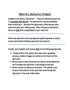 tuesdays with morrie major themes [ec53e4] - tuesdays with morrie study guide introduction answers tuesdays with morrie study guide contains a biography of mitch albom literature essays quiz questions major themes characters and a full.