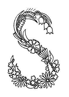 Coloriage alphabet fleurs s sur Hugolescargot.com - Hugolescargot.com