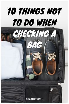 Planning to check in luggage? Learn why you shouldn't pack valuables, what's TSA-approved, whether you should use a lock on checked baggage, and much more. Airline Travel, Packing Tips, Baggage, You Bag, Suitcase, Traveling, One Piece, Pairs, Sneakers