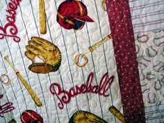 Baseball mini quilt table cloth by granniesraggedybags on Etsy ... : baseball fabric for quilting - Adamdwight.com