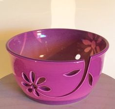 Yarn Bowl with flower cutout yarn feed. by EarthWoolFire on Etsy, £50.00