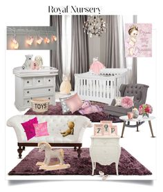"""""""Baby Girl"""" by frenchytouch74 ❤ liked on Polyvore featuring interior, interiors, interior design, home, home decor, interior decorating, Restoration Hardware, Nursery Works, AFK and John Robshaw"""