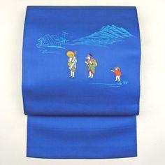 Blue, nagoya obi / 機械刺繍でほのぼのとした柄を施した八寸名古屋帯 http://www.rakuten.co.jp/aiyama #Kimono #Japan #aiyamamotoya